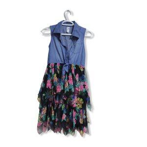 Justice Girls Layered Floral Denim Dress
